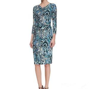 David Meister 3/4-Sleeve Snake-Print Dress